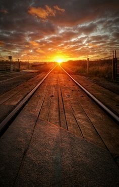 Country Train Track Sunrise