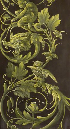 Barbara Maldini, green and brown Arabesque, Rome Antique, Grisaille, Of Wallpaper, Chinoiserie, Shades Of Green, Art Decor, Art Nouveau, Wall Art
