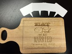 Engrave a cutting board for a wedding and cut dry erase cheese markers with a laser Cheese Cutting Board, Cheese Board Set, Bamboo Cutting Board, Trotec Laser, Laser Engraving, Markers, Best Gifts, Projects To Try, Diy