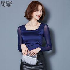 Korean Fashion Solid Slim Women Blouses 2016 Autumn New Arrival Long Sleeve Ladies Shirts Female Blouses Plus Size Tops 584J 25