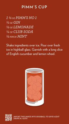 Pimm's Cup, created with Highball. Drink Bar, Bar Drinks, Cocktail Drinks, Cocktail Recipes, Alcoholic Drinks, Beverages, Classic Cocktails, Holiday Cocktails, Summer Cocktails