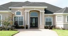 Roof over front door entrance roof cover and entry door - Exterior paint coverage on stucco ...