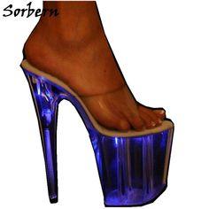 sorbern glitter neon transparent slippers summer designer brand fashion women shoes custom made platform high heels slippers Stilettos, Women's Shoes, Neon Pumps, Transparent Heels, Purple Heels, Platform High Heels, Branding Design, Christian Louboutin, Slippers