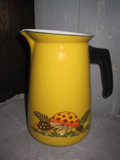 GrOoVy Gold Enamelware Coffee Pot with White by ShabbyChicnanigans, $18.00
