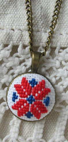 Romantic necklace red necklace hand embroidered necklace