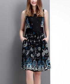 Black Paisley Sleeveless Fit & Flare Dress #zulily *lovely