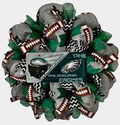 Philadelphia Eagles Football Sports Wreath Handmade Deco Mesh | eBay Alabama Football Wreath, Alabama Wreaths, Eagle Sports, Sports Wreaths, Baseball Wreaths, Philadelphia Eagles Football, Chevron Ribbon, Deco Mesh Wreaths, Christmas Wreaths