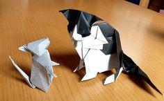 Cat (of Kyohei Katsuta) and Rat (of Hideo Komatsu), folded by Teru Kutsuna.