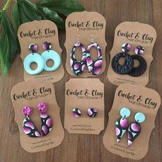 A gorgeous set of statement earrings featuring an abstract ombre pink pattern highlighted by a beautiful mint background <3 All patterns on the clay have been hand designed and made by me, alot of time and love goes into each piece and they are just beautiful OOAK pieces for you to