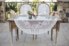 Antique Bride & Groom table & Chairs