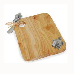 Sea Turtle Wood Cutting Board & Spreader   Living   Mud Pie