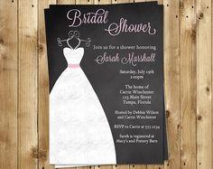 Chalkboard Bridal Shower Invitations Wedding by TheInviteLadyShop