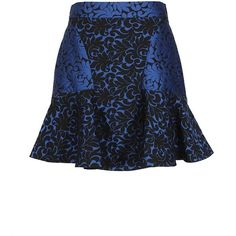 Stella Mccartney Blue And Black Jacquard Short Skirt found on Polyvore