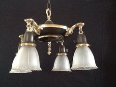 Victorian Pan Chandlier Brass Accents 4 Shades by AntiqueLights, $199.00