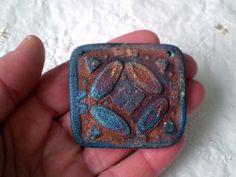 Geometric Raku Bead MultiColored Handmade