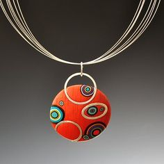 Meisha Barbee  Shimmer pendant-Orange with Bullseye