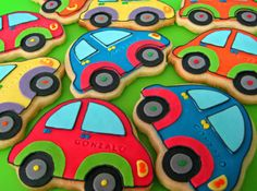 Car Cookies, Transportation Birthday, Baby Boy 1st Birthday Party, Cookie Crumbs, Cookie Decorating, First Birthdays, Baby Shower, Ideas, Strollers