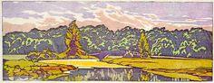 Walter J. Phillips (1884-1963) Vilas Park, Madison, 1919 colour woodcut on paper (first state; edition: 50) 10.6 x 27.6 cm (via #48a - Vilas Park, Madison)