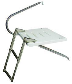 JIF - EKU1 ~ O/B TRANSOM PLATFORM W/1 ARM SS 2-STEP TELESCOPING [EKU1] - $147.20 : Boat Ladders - Pontoon Boat Ladder - Dock Ladders for Less, Boat-Ladders-Store.com