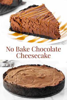 No Bake Dark Chocolate Cheesecake - - Chocolate Caramel Cheesecake, Dark Chocolate Recipes, Homemade Chocolate, Chocolate Desserts, Chocolate Espresso, Chocolate Chocolate, Cheesecake Mix, Easy Cheesecake Recipes, Pumpkin Cheesecake
