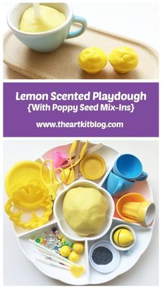 Lemon Scented Playdough with Poppy Seed Mix-Ins by The Art Kit - Stop by the Blog Today or Pin for Later