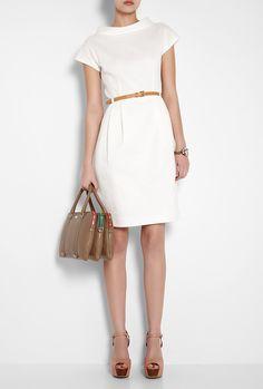 Moschino Cheap & Chic - White Cotton Piqué Belted Shift Dress