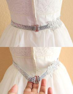 Silver Flower Lace on Skinny Silver Glitter by lovelikestyle