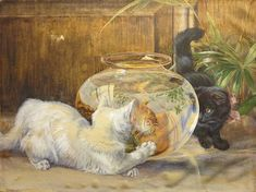 Goldfish Bowl, Fish Tales, English Artists, Cat Supplies, Triptych, Cats And Kittens, Cartoons, Antiques, Painting