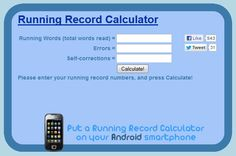 Online Running Record calculator for teachers! Seriously, how awesome is this!!