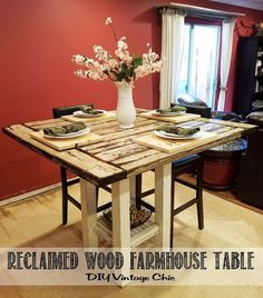 If you're looking for a stylish kitchen table, this farmhouse design is perfect!