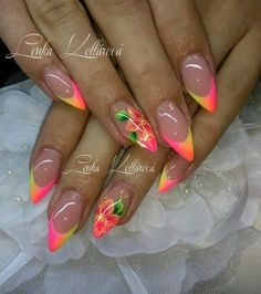 Top 56 acrylic nail designs 2019 for woman 7 Funky Nails, Dope Nails, Neon Nails, Glitter Nails, Best Acrylic Nails, Acrylic Nail Designs, Nail Art Designs, Hair And Nails, My Nails
