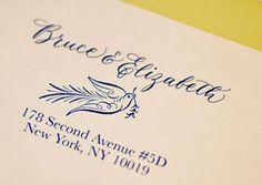 Beautiful calligraphy return address stamp