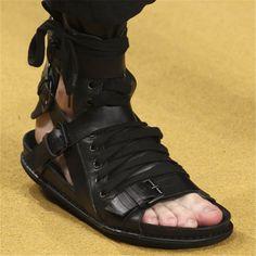 99.40$  Watch now - http://alits6.worldwells.pw/go.php?t=32731132404 - Fashion Summer Men Sandals Punk Style Casual Flat Shoes Roman Gladiator Sandal Black Mens Flats Beach Shoes Sandalias Hombres