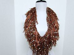Fringe Binge Fringe Necklace Scarf  in Bronze by pflumsthumbs, $25.00