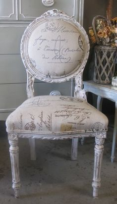 French Chair with Calligraphy Upholstery. Perfect for vanity or redo vanity stool like this Side Chair / Dining Room Chair Vanity Chair Office Chair French Furniture, Shabby Chic Furniture, Painted Furniture, Decoration Shabby, Shabby Chic Decor, Decorations, French Decor, French Country Decorating, Furniture Makeover