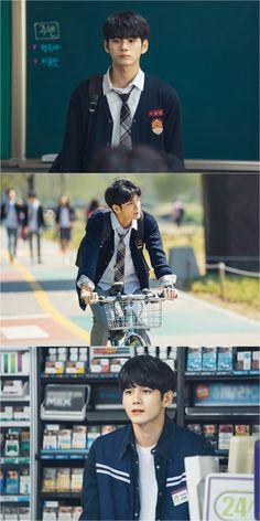 Why he look so natural ? Ong Seongwoo, Kim Jaehwan, Ha Sungwoon, Kdrama Actors, My Youth, Beautiful Love, 3 In One, Lee Min Ho, Hair Color Streaks