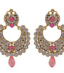 Oval Half Chand Pink Beads Kundan Meena Polki Dulhan Earring Danglers Drop Online Whole