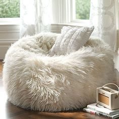Love! Fuzzy furry beanbag chair. From PB Teen,{{{ i know you love that gynormous beanbag!}}}