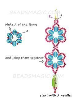 Free pattern for earrings Blue Flowers - perlen Schmuck 7 - Seed Bead Jewelry, Bead Jewellery, Seed Beads, Beaded Earrings Patterns, Beading Patterns, Beading Projects, Beading Tutorials, Beaded Crafts, Jewelry Crafts