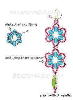 free-beaded-earrings-pattern-2 Blue Flowers -make it into a bracelet or necklace-- 1 of 2 see picture (earrings)