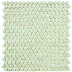 Merola Tile Cosmo Penny Round Mint 12 in. x 11-1/4 in.x 5 mm Porcelain... ($13) ❤ liked on Polyvore featuring backgrounds