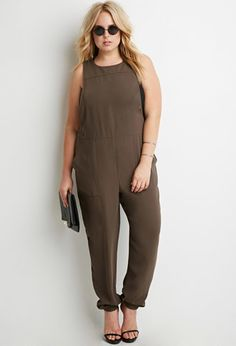 Buttoned Crepe Jumpsuit | Forever 21 PLUS - 2000174711
