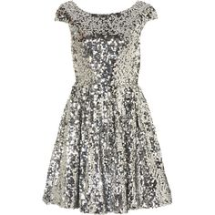 TOPSHOP Sequin Skater Dress (4635 RSD) ❤ liked on Polyvore featuring dresses, vestidos, topshop, sequin, silver, topshop dresses, white sequin dress, white dress, sequined dresses and white cocktail dresses