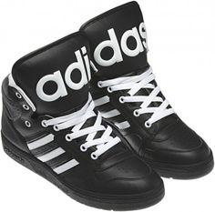 pretty nice df535 28a34 Rihanna wearing Adidas X Jeremy Scott Instinct High Top Sneaker in Black  White.