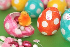 Paper mache Easter eggs...kind of a lot of work but they sure look cute!