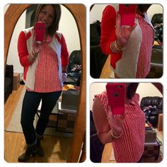 So glad my supplements arrived...this Printed Madeleine Top is not my usual go to but as is the norm with CAbi....just try it on and you may be surprised!! Love it!! Paired with Hourglass Cardigan -very cool details to slim you and give optical shape and my Comet Wash Boyfriend Jean from Fall.