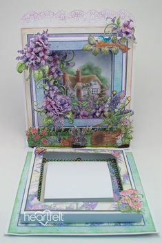 EZ step by step tutorial to create a layered Shadow Box Trinket Holder and a Giveaway! Heartfelt Creations Cards, Card Making Tutorials, Making Cards, Anna Griffin Cards, Diy Gift Box, Shaped Cards, Fancy Fold Cards, Flower Making, Shadow Box