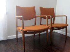 Pair Mid Century Danish Modern Teak Arm Chairs with by rhanvintage, $825.00