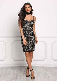 Black Bustier Floral Lace Bodycon Dress - Going Out - Dresses Black Bustier, Lace Dress Black, Dress Up, Bodycon Dress, Going Out Dresses, Junior Outfits, In Pantyhose, Homecoming Dresses, Sexy Dresses