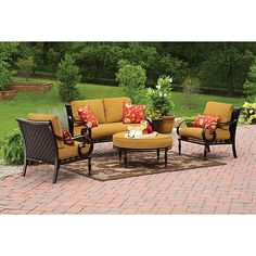 Better Homes And Gardens Englewood Heights 4 Piece Patio Conversation Set,  Seats 4